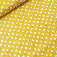 Сатин с белыми горошками 7 мм на желтом, ш. 160 см, фото 1