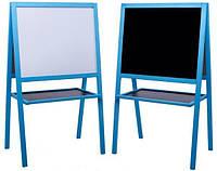 Мольберт детский двухсторонний НЕ МАГНИТНЫЙ синий, доска для рисования, для мела и маркера 2в1.