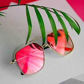 Женские солнцезащитные квадратные зеркальные очки (арт. 6249) оранжево-розовые