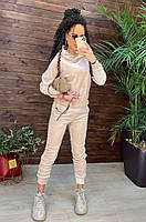 Велюровий спортивний костюм жіночий в кольорах (Норма і батал), фото 3