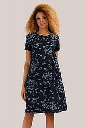 Летнее платье миди А-силуэта с цветочным принтом Finn Flare S19-11087-101 темно-синее