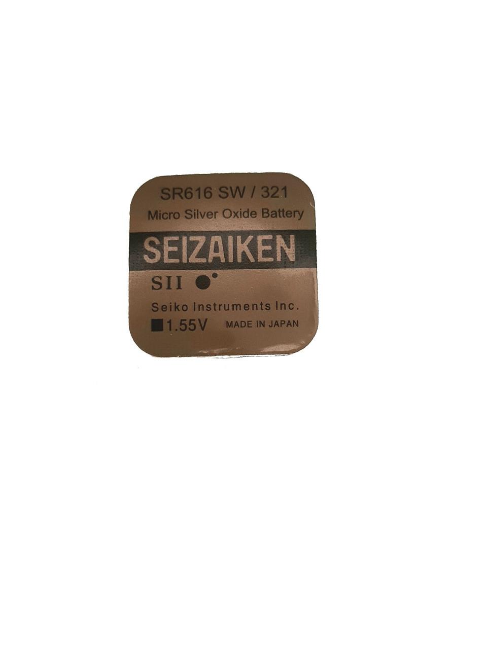 Батарейка для наручних годинників SEIZAIKEN SR616SW (321) 1.55 V 16mAh 6.8x1,65mm Серебрянно-цинкова
