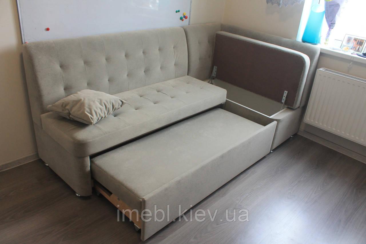 Мягкий уголок со спальным местом для небольшой кухни (Серый)