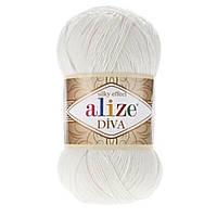 Ализе Дива молочный . Alize diva silky effect 450