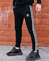 Мужские спортивные штаны Adidas черные   спортивки Адидас