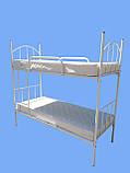 Кровать металлическая двухъярусная облагороженная ЛДСП для студентов, фото 9