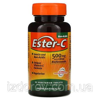 American Health, Ester-C 500 мг, Витамин C с биофлавоноидами, для иммунитета, 90 вегетарианских таблеток