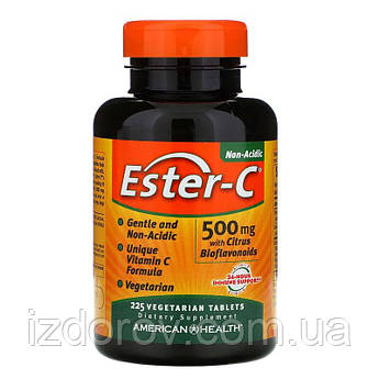 American Health, Ester-C 500 мг, Витамин С с цитрусовыми биофлавоноидами, 225 вегетарианских таблеток
