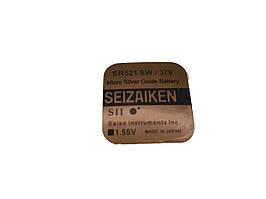 Батарейка для часов. SEIZAIKEN SR521SW (379) 1.55v 16mAh 5.8x2.15mm Серебрянно-цинковая