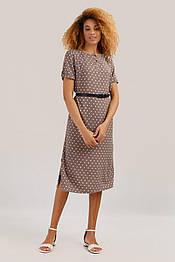 Приталенное платье в горошек из вискозы с поясом Finn Flare S19-11040-623 светло-коричневое