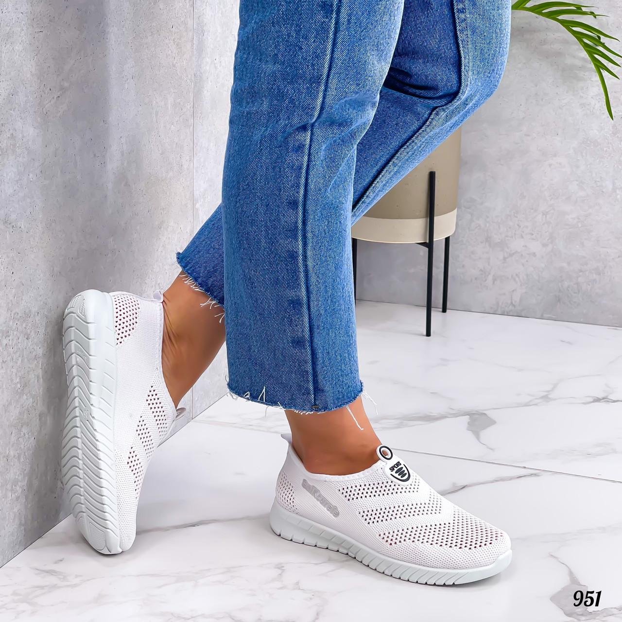 Жіночі кросівки білі без шнурівки текстиль сітка весна-літо-осінь