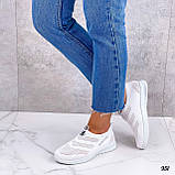 Жіночі кросівки білі без шнурівки текстиль сітка весна-літо-осінь, фото 5