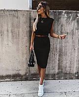 Жіночий літній костюм з спідницею 1034 (42-44; 46-48) (кольори: чорний, бежевий) СП, фото 1