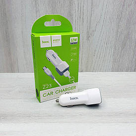 Автомобильное зарядное устройство Hoco Z23 2.4A 2USB + кабель micro USB (белое)