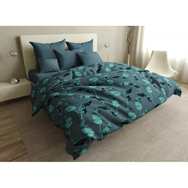 Комплект постельного белья Gradient leaves SoundSleep бязь евро