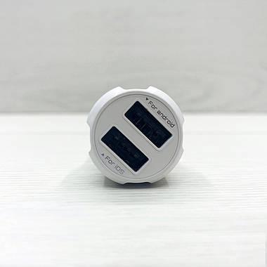 Автомобільний зарядний пристрій LDNIO C331 2USB + кабель micro (біле), фото 3