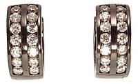 """Сережки XP Позолота Black (чорне золото) колечка """"Подвійні доріжки цирконію"""", фото 1"""