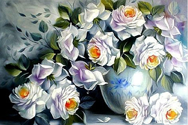 Алмазная мозаика Белые розы 60x40см DM-046 Полная зашивка. Набор алмазной вышивки