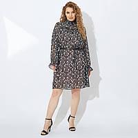 Шикарное красивое шифоновое платье приталенное в мелкий цветочный принт на подкладке Турция.LUXX MODEL!!!