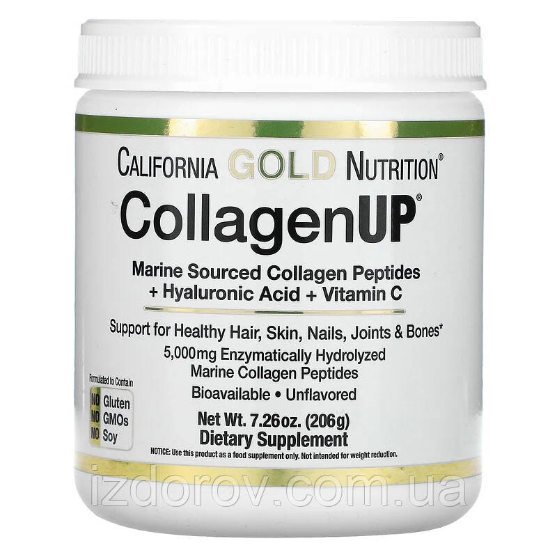 California Gold Nutrition, CollagenUP, морской коллаген, гиалуроновая кислота и витамин C, 206 г