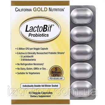 California Gold Nutrition, Комплекс пробиотиков LactoBif, 5 млрд КОЕ, 10 растительных капсул