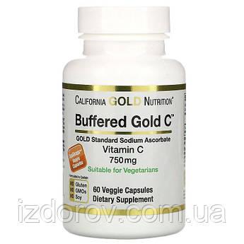 California Gold Nutrition, Буферизованный витамин C 750 мг, Аскорбат натрия в капсулах, 60 капсул