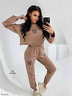 Модный спортивный женский костюм с укороченной кофтой свободного кроя р-ры 42-46 арт.  297