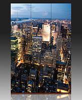"Ширма ""Нью Йорк, вечер"", 120х180см, деревянная"