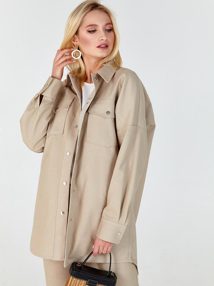 Куртка-сорочка жіноча джинсова бежева MKSH2638
