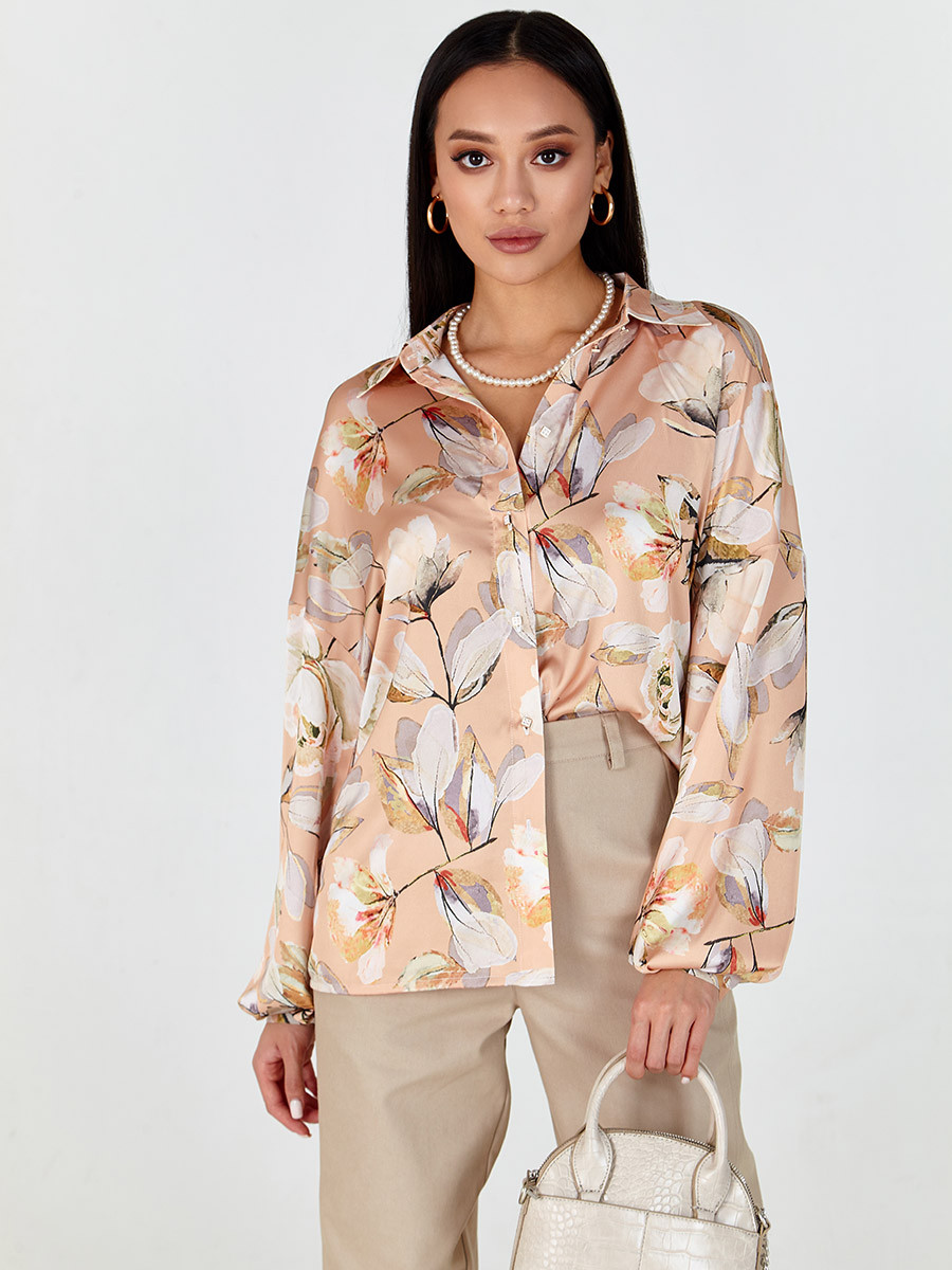 Блуза женская шелковая принтованая персиковая MKSH2633