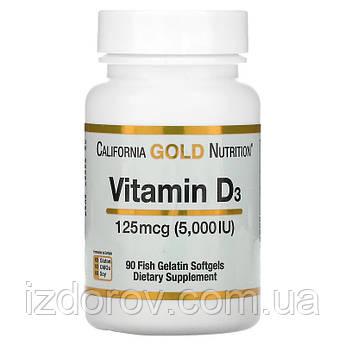 California Gold Nutrition, Витамин D3, 5000 МЕ (125 мкг), холекальциферол, 90 рыбно-желатиновых капсул