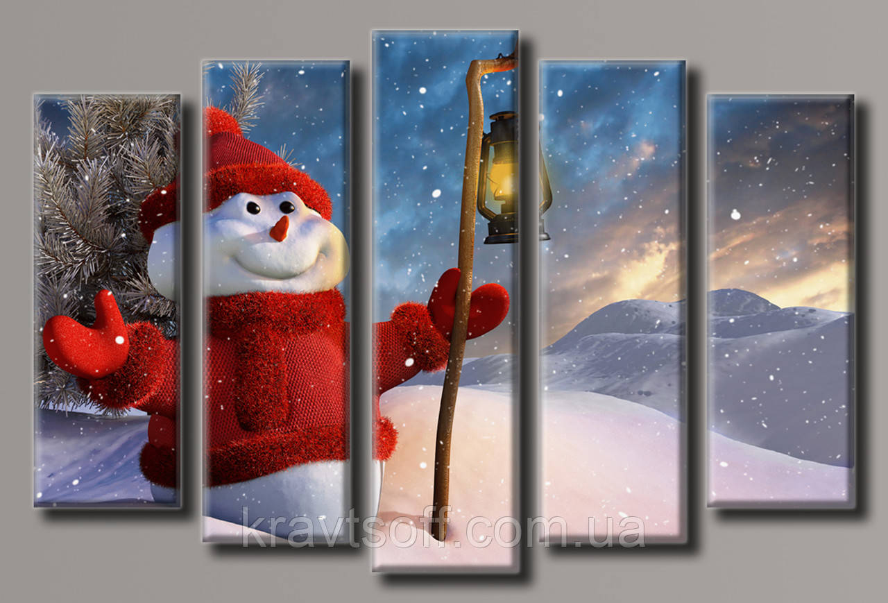 """Модульная картина на холсте из 5-ти частей """"Снеговик"""" ( 55х83 см )"""
