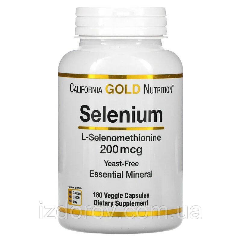 California Gold Nutrition, Селен, бездріжджовий, 200 мкг, 180 рослинних капсул