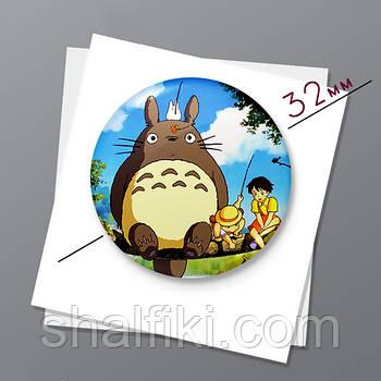 """Мой сосед Тоторо / My neighbor Totoro"" магнит круглый Ø32 мм"