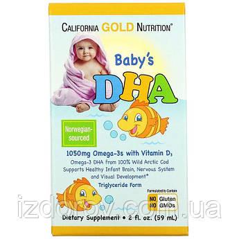 California Gold Nutrition, ДГК для детей, 1050 мг, Baby's DHA, Омега-3 с витамином D3 в жидкой форме, 59 мл