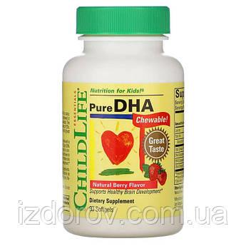 ChildLife, Чистая ДГК для детей (Омега 3, Рыбий жир), Pure DHA, вкус натуральных ягод, 90 мягких таблеток. США