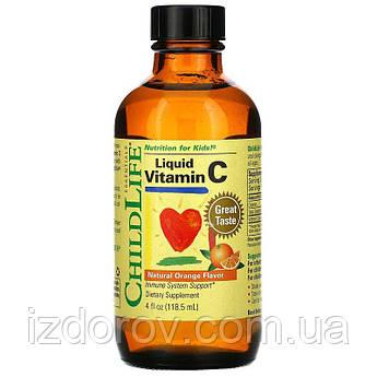 ChildLife, Жидкий витамин C для детей от 6 месяцев, вкус натурального апельсина, 118,5 мл