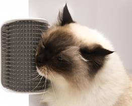 Іграшка-масажер для кішок з кріпленням до стіни Cat It, чесалка, щітка сіра
