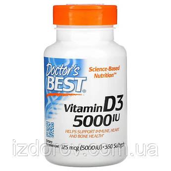 Doctor's Best, Витамин D3 5000 МЕ (125 мг), 360 мягких таблеток