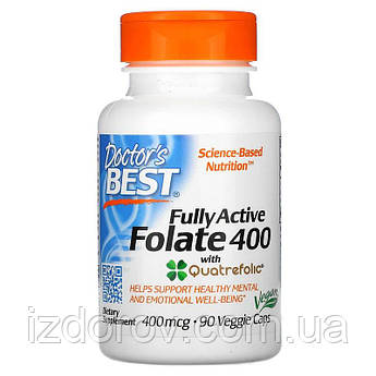 Doctor's Best, Полностью активный фолат 400 с кватрофоликом, Fully Active Folate, 400 мкг, 90 капсул