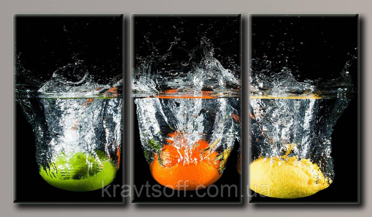 """Модульная картина на холсте из 3-х частей """"Цитрусовые фрукты"""" ( 55х100 см ) арт.HAT-168"""