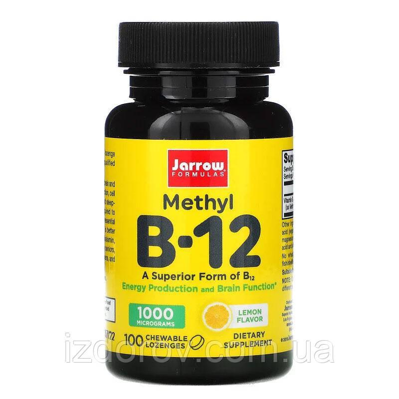 Jarrow Formulas, Витамин B-12 1000 мкг, сублингвальный метилкобаламин, со вкусом лимона, 100 пастилок