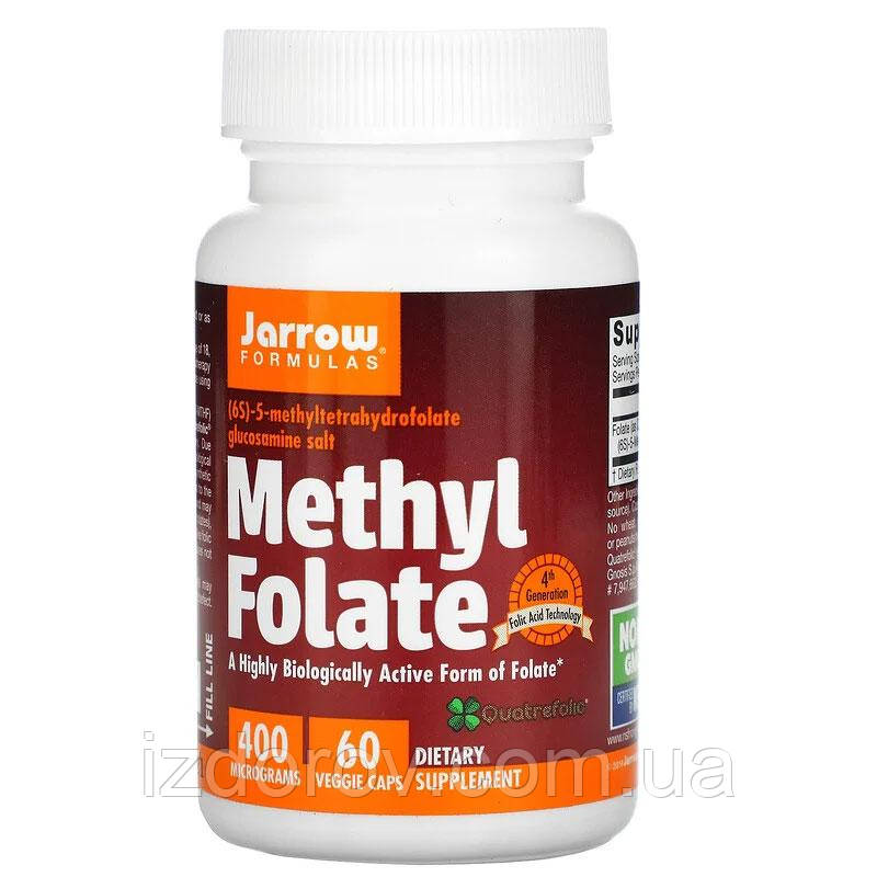 Jarrow Formulas, Метилфолат 400 мкг, Methyl Folate, 60 вегетарианских капсул