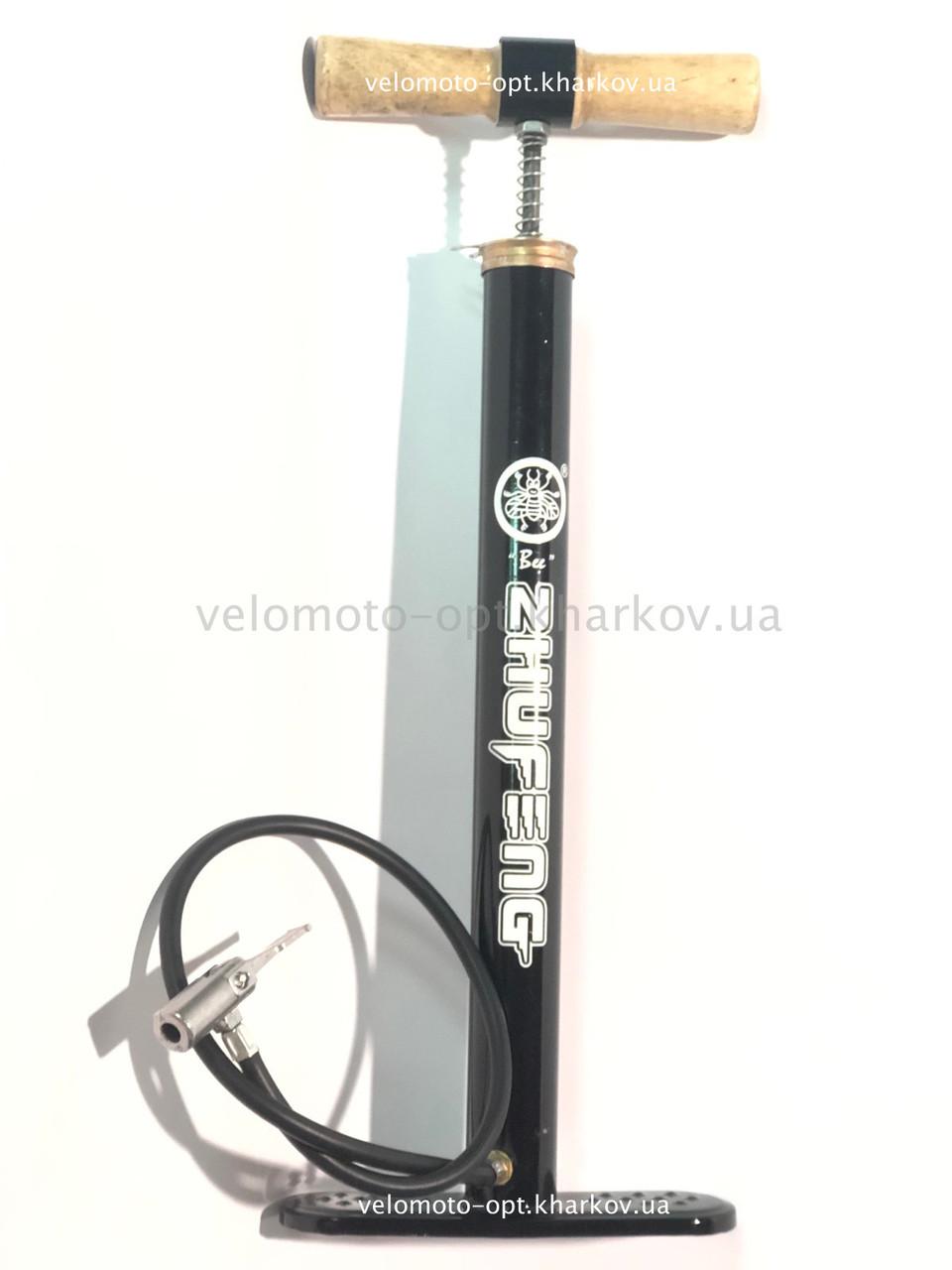 Насос підлоговий ручної Zhufeng, чорний з дерев'яною ручкою