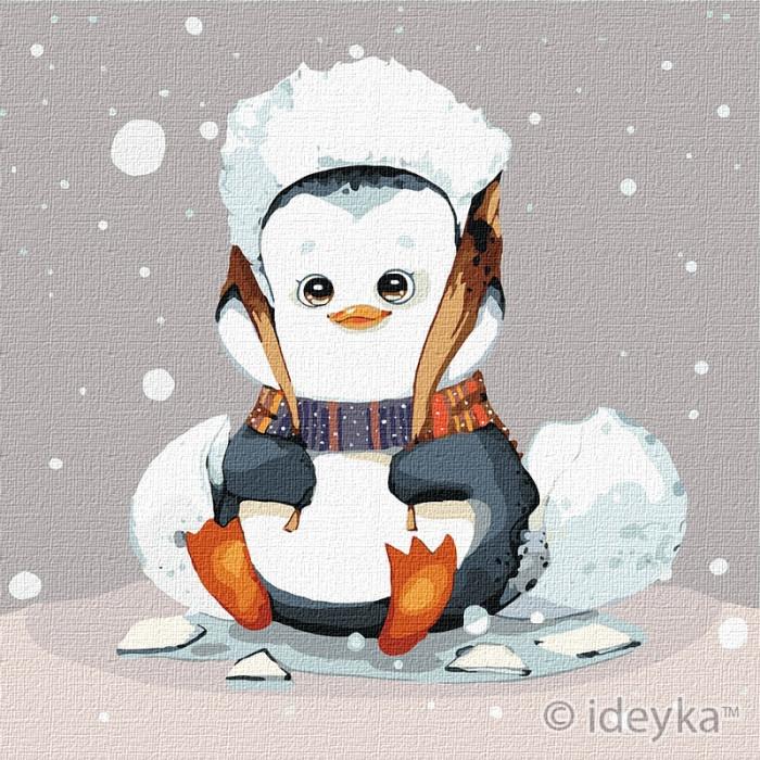 Картина за номерами Маленький пінгвінчік Ідейка 25 х 25 КНО2372