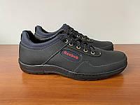 Чоловічі туфлі чорні спортивні прошиті (код 7651)