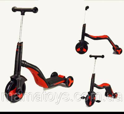 Детский Самокат трансформер 3 в 1 SC20109 Красно черный, Подсветка, музыка, колёса PU