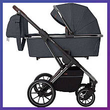 Детская универсальная коляска 3в1 с автокреслом CARRELLO Aurora CRL-6502/1 серая с серебристой рамой +дождевик