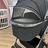 Детская универсальная коляска 3в1 с автокреслом CARRELLO Aurora CRL-6502/1 серая с серебристой рамой +дождевик, фото 5