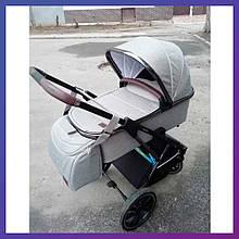 Детская универсальная коляска 3в1 автокреслом CARRELLO Aurora CRL-6502/1 бежевая с серебристой рамой+дождевик